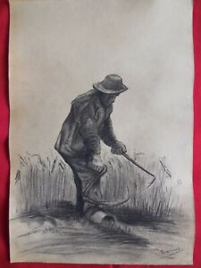 BEST, Old master,Modern,Rare drawings,Working man,original charcoal,Wall decor