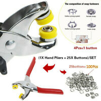 Metal Prong Ring Snap Fasteners Press Studs Plier 9.5mm 100Pcs Ring Snap