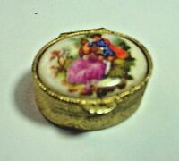 Pretty Gold Tone Oval Pill Box With Classical Scene On Lid