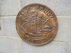 Half-Penny  wall plaque concrete garden ornament