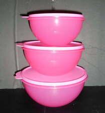 Tupperware Wonderlier Bowls 3pc Set Mix, Serve, Storage Pink
