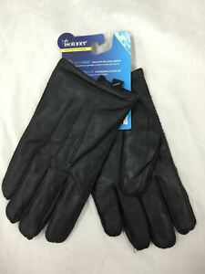 Isotoner Men's Winter Gloves Large SleekHeat Leather Black L