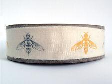Bumble bee imprimé tissu de coton ruban bordure ruban jaune-gris - 5 Mètre Reel