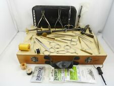 Wooden Box Of Job Lot Fly Tying Tools Plus Master Fly Tying Vice