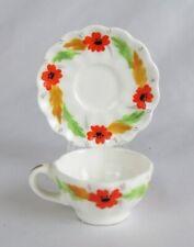 "Vintage Artone England 2"" Miniature Hand Painted Poppies Bone China Cup & Saucer"