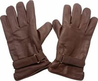 Western Leder Biker Vespa Reit Handschuhe braun 50s Rockabilly Gloves gefüttert