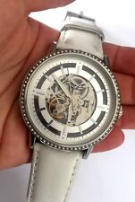 Kenneth Cole KC2690 Womens Skeleton Dial White Leather Strap Automatic Watch