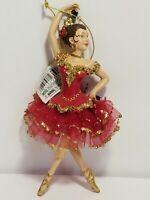 """Kurt Adler 6.25"""" Ballerina In Red And Gold Christmas Ornament"""