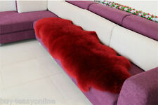 180x65cm Double Pelt Sheepskin Rug Burgundy Real Australian 6'x 2' Fur Carpet