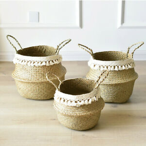 Seagrass Basket Belly Flower Plant Woven Storage Wicker Pot Home Laundry Decor