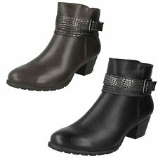 Ladies Black/Brown Heeled Smart Casual Spot On Ankle Boots F50730