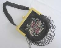 Vintage Celluloid Bag Purse 1920s Flappers Cream Black Beadwork Beaded Ladies