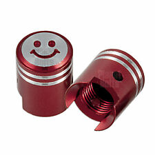 Red 2x Valve Cap Cover Tire GSXR 600 750 Ninja R1 R6 Lid Piston Smiley CNC