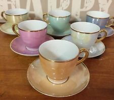Set Of Six Beautiful Vintage Harlequin Coffee/ Espresso Cups And Saucers