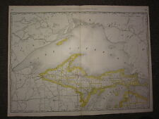 1890 LARGE MAP ~ NORTHERN MICHIGAN STATE COUNTY RAILROAD ~ EXCELLENT CONDITION