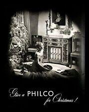 1946 Philco Radio Record Player Console Vintage PRINT AD Christmas Tree Holiday