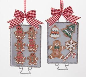 Kurt Adler Gingerbread Men Baked Cookies on Tray Ornaments Set of 2 Metal