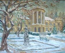 Tableau Parc Neige Impressionnisme Peintre à identifier Ecole RUSSE 41 x 51 cm