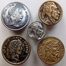 Lot de 5 boutons plats en métal à la tête de profil droit, Napoléon III,Louis 13