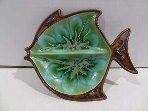"Vintage Treasure Craft 391 Fish Ashtray Trinket Dish 7"" x 9"" Green Blue Tie Dye"