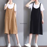 Korean Womens Cotton Linen Casual Jumper A Line Overalls Suspender Dress Skirt