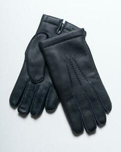 Kiton Napoli $680 NWT Navy Blue Leather Shearling Lined Driving Gloves 9.5 L