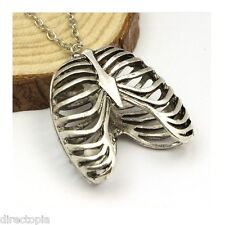 Rib Cage Ribcage Anatomical Silver Anatomy Biology Statement Pendant Necklace