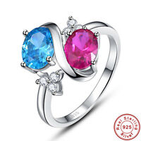2.45CT Ruby & Swiss Blue Topaz 100% 925 Sterling Silver Ring Size L½ N½ P½ R½