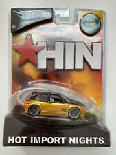 New 2004 Hot Wheels HIN Gold VW Golf One Owner Hot Import Nights 1-48 Scale