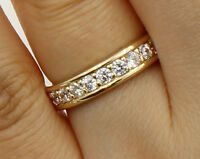 1.50 Ct 14K Real Yellow Gold Round Eternity Wedding Anniversary Bridal Ring Band
