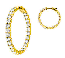 7.82 carat Round cut Diamond 14k Yellow Gold Hoop Earring 52 x 0.15 ct 1.25 inch