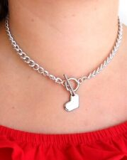 Toggle Chain Necklace with Heart Charm - 16 Inches