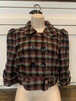 Women's Forever 21 Wool Blend Crop Jacket, Plaid, Large
