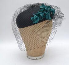Vintage Veiled Ladies Pillbox Hat Floral Detail Goodwood/ Twinwood/ Races