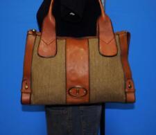 FOSSIL VINTAGE REISSUE Brown Leather Canvas Shopper Tote Purse Shoulder Bag
