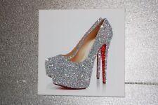 Zapato de defectos en piezas moldeadas Chic Silver Glitter Tacones. enmarcado o lona! cualquier tamaño:)