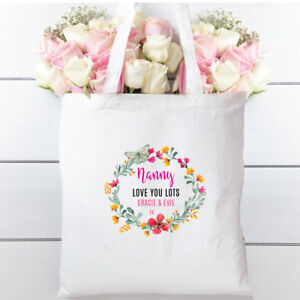 Personalised Nanny, Birthday Day Cotton Shopper Tote bag,Gift, Floral Wreath