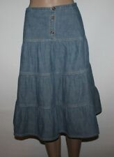 Blue Denim CHEROKEE Button Calf Length Hippy Boho Casual Skirt Sz 12-13Yrs L 26