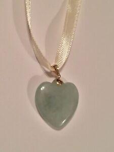 10K Yellow Gold Small Light Green Jadeite? Heart Pendant