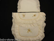 Beautiful Pram Quilt and Pillow  Set  CREAM / GOLD WITH EMBROIDED NAME ON