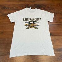 VINTAGE Gildan Mens T Shirt Small White San Francisco California Graphic Tee