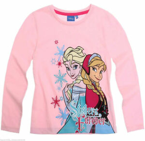 Girls Disney 100% Cotton Frozen Sisters Forever Pink Top 2-8 years