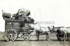 ANTIQUE OLD  COWBOY WESTERN REPRINT PHOTOGRAPH OF STAGECOACH