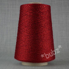 Hilo brillo rojo fino suave 250g Cono laceweight Tejido Bordado Brillo Metálico