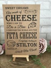 Personalised Sweet Table Cheese Post Wedding Sign Recycled Kraft Card Rustic