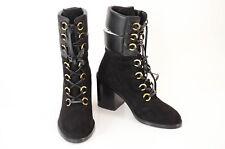 Stuart Weitzman black 6 suede leather round toe mid-calf boot shoe NEW $698