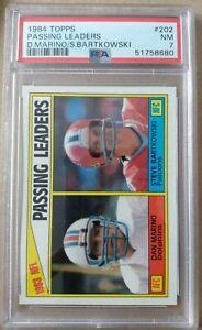 1984 Topps #202 Passing Leaders Dan Marino Dolphins HOF RC/Bartkowski- PSA 7 NM