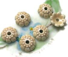 Brown Bead Caps Deco Flower Floral Ceramic Handpainted Pressed Vintage #843-5