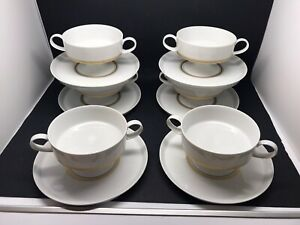6 Rosenthal Soup Bowls / Coupes With Saucers