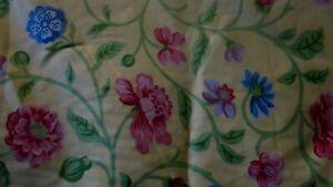 "Vintage JANE CHURCHILL ""PAVILLION"" Lemon Yellow Floral Pattern Cotton Fabric 4m"